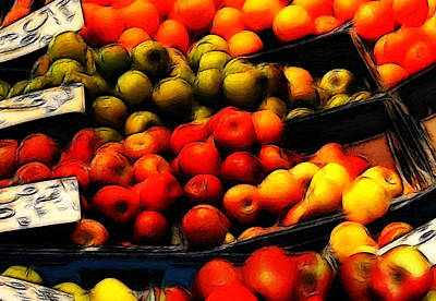 Grocer Painting - Fruits On The Market by Steve K