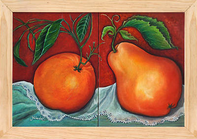Art Print featuring the painting Fruits Pears by Yolanda Rodriguez