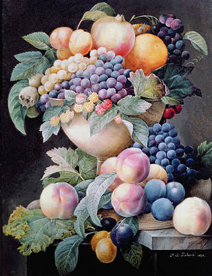 Marble Painting - Fruits by Pierre Joseph Redoute