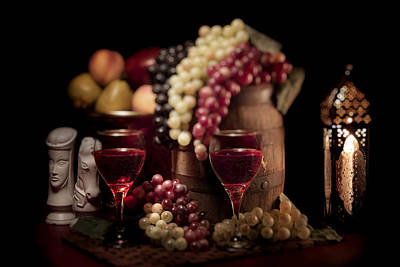 Fruity Wine Still Life Art Print by Tom Mc Nemar
