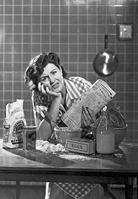 Mess Photograph - Frustrated Woman Baker by Underwood Archives