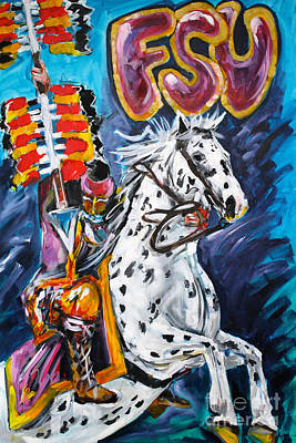 Recently Sold - Sports Paintings - F.S.U. Mascot with Spear by Alan Metzger