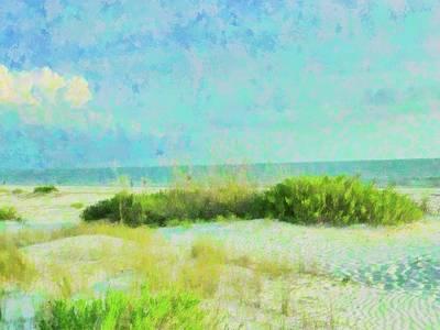 Beach Landscape Mixed Media - Ft Myers Beach Dunes by Florene Welebny