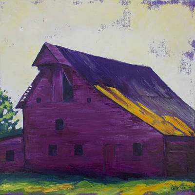 Barn Landscape Painting - Fuchsia Barn by Kristin Whitney