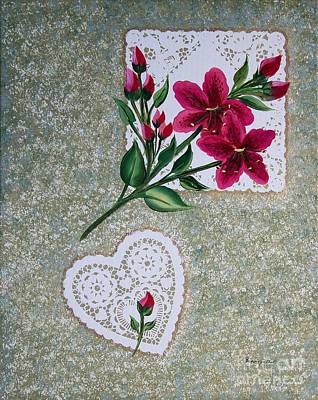 Fuchsia Daylilies On Doilies Original by Barbara Griffin