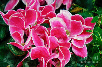 Photograph - Fuchsia Flowers Painterly by Andee Design