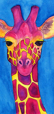 Fuchsia Giraffe Original by Tricia Griffith