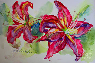 Painting - Fuchsia Lilies by Terri Maddin-Miller