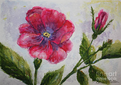 Painting - Fuchsia Rose And Bud by Terri Maddin-Miller