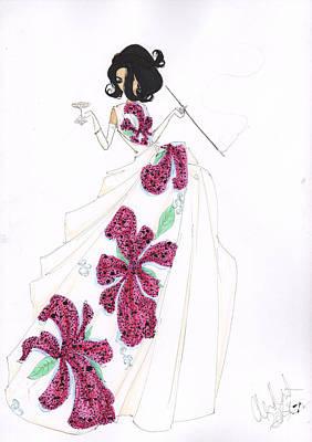 Fuchsia Tropical Silk Fashion Drawing Art Print by Alex Newton