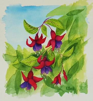 Fuchsias Art Print by Katherine Young-Beck