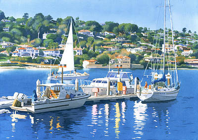 Yachts Painting - Fuel Dock Shelter Island San Diego by Mary Helmreich