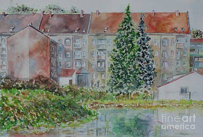 Art Print featuring the painting Fuerth Flooded Mead by Alfred Motzer