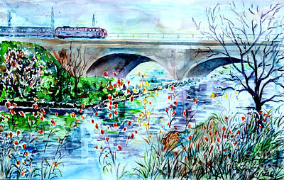 Art Print featuring the painting Fuerth Seven Arches Bridge by Alfred Motzer