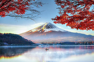 Reflection Photograph - Fuji Mountain In Autumn by Doctoregg