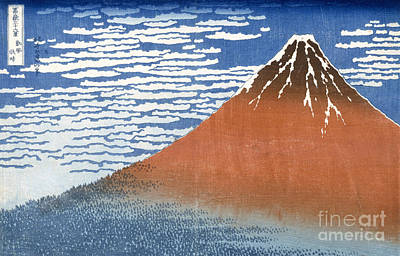 Snow Capped Painting - Fuji Mountains In Clear Weather by Hokusai