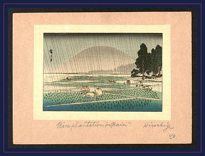 Rain Drawing - Fukeiga, Rice Planting In Rain. Between 1900 And 1940 by Utagawa Hiroshige Also And? Hiroshige (1797-1858), Japanese