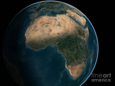 Terrestrial Sphere Photograph - Full Earth From Space Above The African by Stocktrek Images
