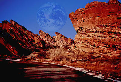 Photograph - Full Earth Over Red Rocks by Kellice Swaggerty