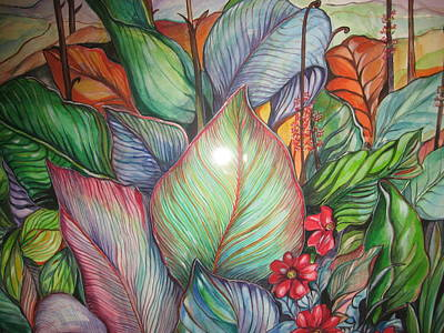 Jamaican Painting - Full Leaf Foliage by Betty Glanville