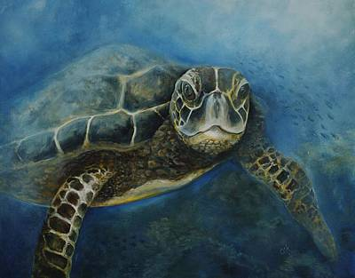 Seaturtle Painting - Full Leisurely We Glide by Christine  Fifer
