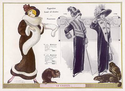 Otter Drawing - Full-length Coats In Beaver  Fur by Mary Evans Picture Library