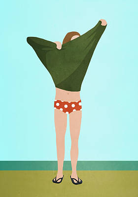 Digital Art - Full Length Of Person Undressing While by Malte Mueller