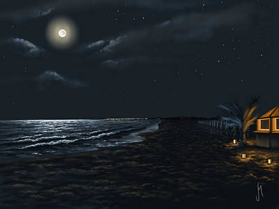 Moonlight Painting - Full Moon Above The Mediterranean Sea by Veronica Minozzi