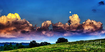 Full Moon And Clouds Print by Thomas R Fletcher