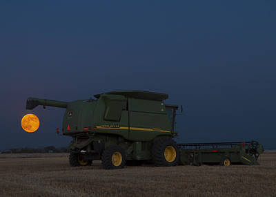 Photograph - Full Moon And Combine by Rob Graham