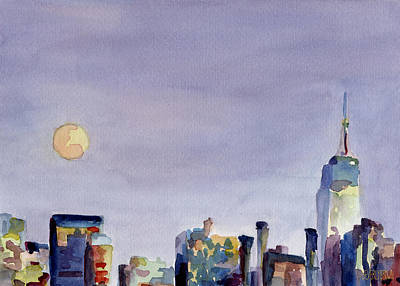 Purple Sky Painting - Full Moon And Empire State Building Watercolor Painting Of Nyc by Beverly Brown Prints