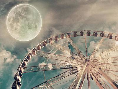 Full Moon And Ferris Wheel Print by Marianna Mills