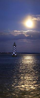 Full Moon And Jupiter Over A Lighthouse Art Print