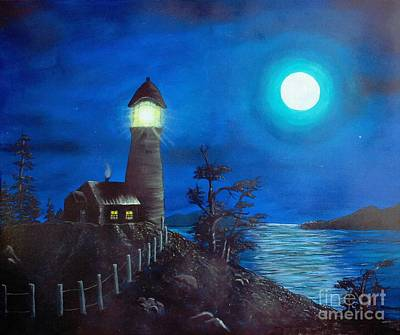 Full Moon And Lighthouse Digital Painting Art Print by Barbara Griffin