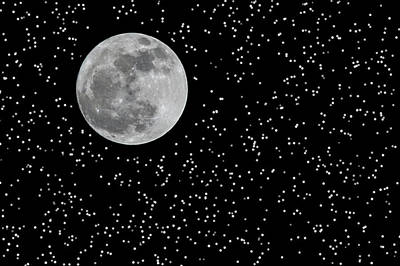 Full Moon And Stars Art Print by Frank Feliciano