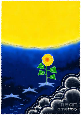 Nature Painting - Full Moon And Sunflower by Pen Osawa