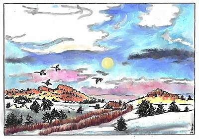 Drawing - Full Moon And Wild Geese by Dawn Senior-Trask