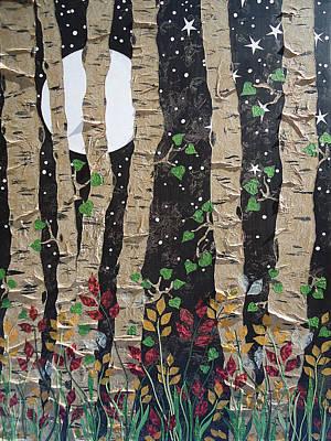 Fantasy Tree Mixed Media - Full Moon Aspens by Renee Whitney