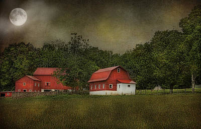 Full Moon At Buffalo Hollow Farm Art Print