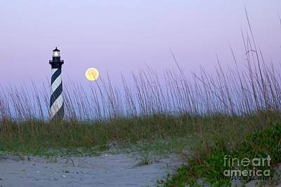 Full Moon At Hatteras Art Print by Laurinda Bowling