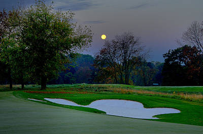 Philadelphia Cricket Club Golf Photograph - Full Moon At The Philadelphia Cricket Club by Bill Cannon