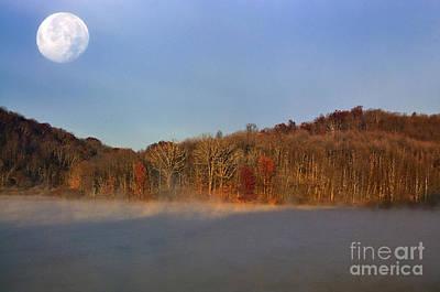 Full Moon Big Ditch Lake Art Print by Thomas R Fletcher