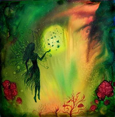 Painting - Full Moon Fairy And Butterflies by Lilia D