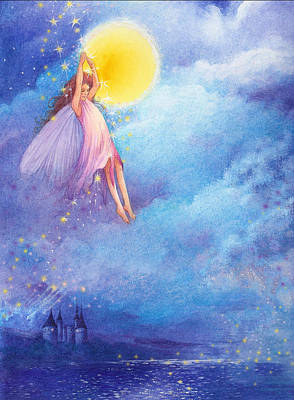 Art Print featuring the painting Full Moon Fairy Nocturne by Judith Cheng