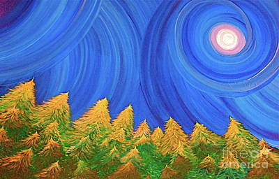 First Star Art By Jrr Painting - Full Moon Forest By Jrr by First Star Art
