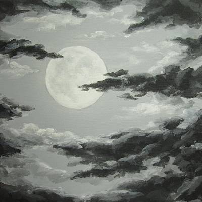 Painting - Full Moon In A Cloudy Sky by Anna Bronwyn Foley