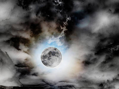 Photograph - Full Moon  In Stormy Sky by Diana Haronis