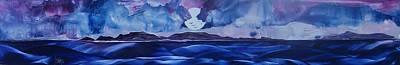 Moonshadow Painting - Full Moon Islands by Danita Cole