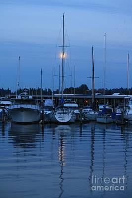 Photograph - Full Moon Marina - Lake Washington by Amanda Holmes Tzafrir