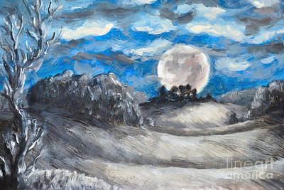 Luna Painting - Full Moon by Martin Capek